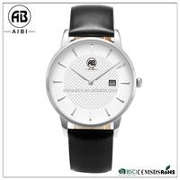 fashion japan mov't stainless steel genuine leather quartz wrist watch