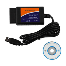 Professional OBD2 Diagnostic Cable ELM 327 USB Plastic ELM327 USB Cable Code Reader