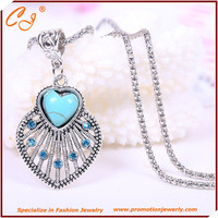 fashion fine jewelry Vintage Tibetan Silver Rimous Turquoise Crystal hellow out loving heart statement necklace for Women