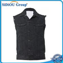 black sleeveless denim jacket for men