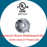 UL listed round weatherproof outlet box for wiring