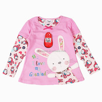 2-6T (G602#PINK)Nova kids wear girl t shirt autumn winter with bunny applique