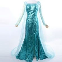 Frozen Elsa Costume Custom Size For Adult Princess Dress Sequined Cosplay Costume
