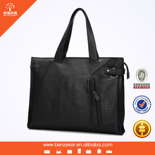 Hot selling Leisure Styles Black Genuine Leather Men Style Laptop Bag Mens