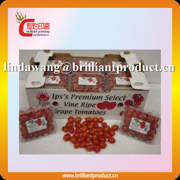 De alta qualidade 3 camada de uma flauta tomates cereja caixa de embalagem / caixa de embalagem de frutas