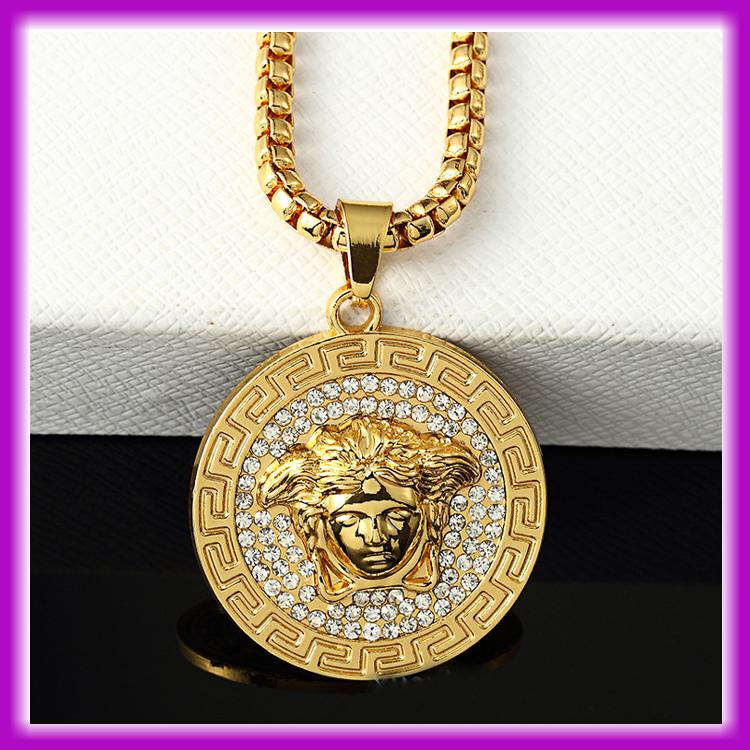 Venta al por mayor de moda Hip Pop Punk americano <span class=keywords><strong>Medusa</strong></span> 24 K oro collar