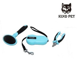 pet products grooming series 3 pcs in 1 brush nail clipper dog leash