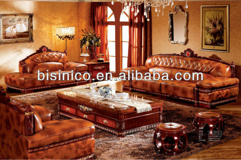 Thai Style Living Room Sofa Set Luxury Design Genuine Leather Golden Furniture Set Noble