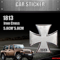 car logo metal badges, metal badge logo, 1813 iron cross emblem badge car sticker