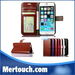 Wallet PU Leather Case Cover Pouch with Card Slot Photo Frame For iPhone 5/5S 6 & 6 plus, For iPhone 6 photo frame case