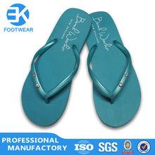 EK Cheap Blight Blue Crystal Ladies Pvc Flip Flops