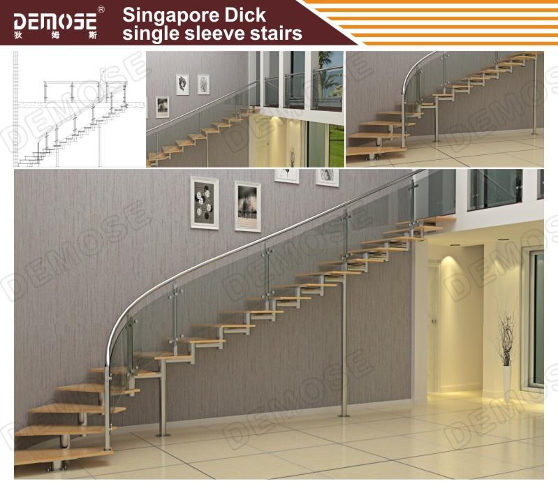 escalera de caracol con interior de hierro forjado pasamanos de la escalera de acero inoxidable
