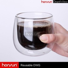 Low MOQ hot sale 250ml heat resistant double wall glass wine cup, ice tea cup