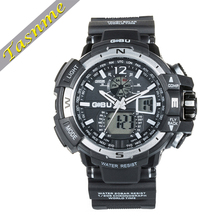 Casual Sports Running Wrist Silicone Rubber Watch 2 Time Zone 3ATM Waterproof Watch