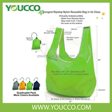 BSCI Factory Promotional Solid Color Foldable Nylon Shopping Tote Bag