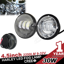 Pair 30W 4.5 Inch round motorcycle Fog Light Kit Driving lights for Harley-Davidson Motorcycle