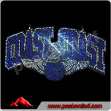 Coast 2 Coast Basketball with Wing Iron on Transfer Stones for clothes decoration Motif custom designs