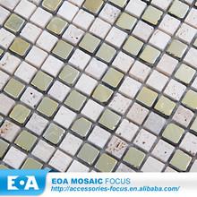 Travertine Stone Gold Foil Mosaic Marble Price Per Square Meter