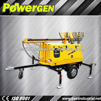 Hot Sale!!! Power-gen Reliable Water Cooled 8kw Diesel Powered Flood Lighting Tower