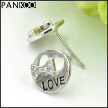 Love Alphabet Jewelry Bowtie Bowknot CZ Cubic Zircon Stud Platinum Plated 925 Sterling Silver Earring