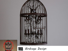 NEW Product Iron bird cage crystal Chandelier Rustic Iron Pendant lamp