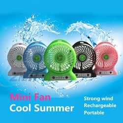 2015 New Products Rechargeable USB Mini Fan with Battery and LED light