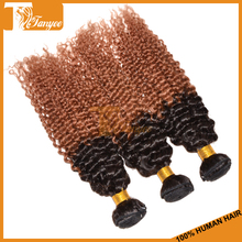 Alibaba china 100% full cuticle lowest price hair extensions ombre color 1b/30 Indian kinky curly two tone human hair