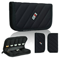 New Original Portable Carry On Cable Organizer Bag Case 9PCS USB Flash Drive Case Clutch Bag Purse Black Colorm 18*10*3cm