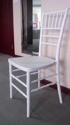PP steel stacking White resin chiavari chair with cushion
