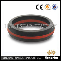 Two color silicon wedding ring can customize with debossed logo