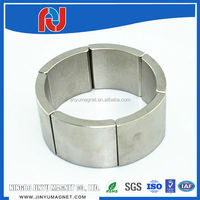 Tile arc shape grade n52 high Br magnetized neodymium motor magnet for sale