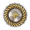 """1 1/4"""" Antique Silver and Gold Rope Margin Horse Head Concho"""
