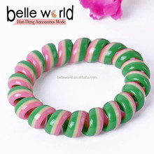 Hot Fashion Double Stripes Colorful Print Plastic elastic hair band for Promotional