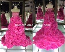 Real de más reciente rojo de la rosa de color hermosa flor vestidos de noche/sin tirantes largo tren de fiesta vestidodenoche