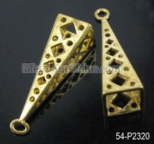 Special design pyramid metal brass pendant charms for bracelet