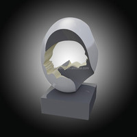 Stainless steel sculpture with abstract face