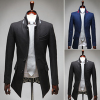 2014 Fashionable men stand collar hit color leisure woolen suit 1215-A 8633