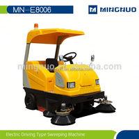 Battery powered hand push mechanical vacuum street sweeper
