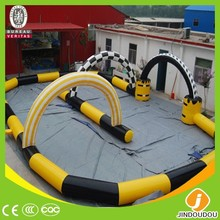 2015 hot sale new cheap outdoor sport games commercial giant inflatable race track for kids car