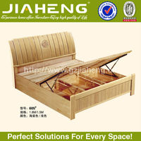 JH-HP605# China Supplier Pneumatic Storage Wood Double Bed Designs With Box