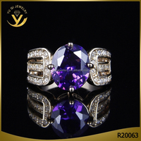 Luxury diamond setting gold plated amethyst jewelry ring for women