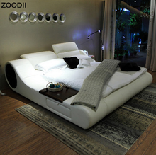 top selling bed, elegant leather bed, Reasonable price modern white bed on sale P682