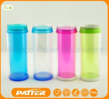 BPA Free 450ML Double Wall Plastic Can / ECO Friendly Reusable Plastic Mug
