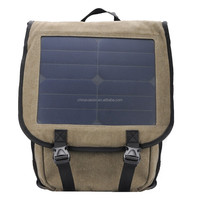 10W Monocrystalline Solar Backpack - 6V 2A Output, 22% Transfer Efficiency, Padded Laptop/Tablet Sleeve, Hard Wearing Canvas