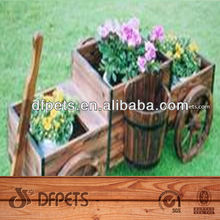 Outdoor Wooden Flower Cart For Garden Decor DFG2004