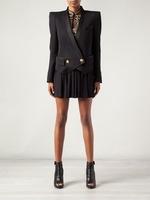 WOMEN BLACK TUXEDO STRONG SHOULDER VESTE BLAZER JACKET ladies military short jacket