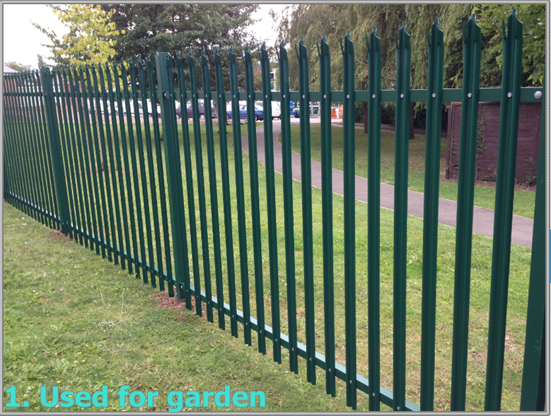 Triple pointed and splayed steel palisade fence and gate 7.png