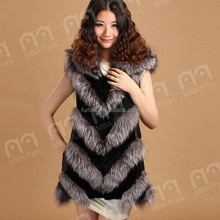 FC-032 Fox fur and sheep leather long vest