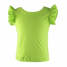 2015 new style summer cotton top lime green wholesale new style girls shirts