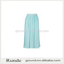 Llanura larga falda de gasa falda plisada para mujeres